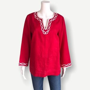 TALBOTS 100% Linen Embroidered Notch Neck Tunic